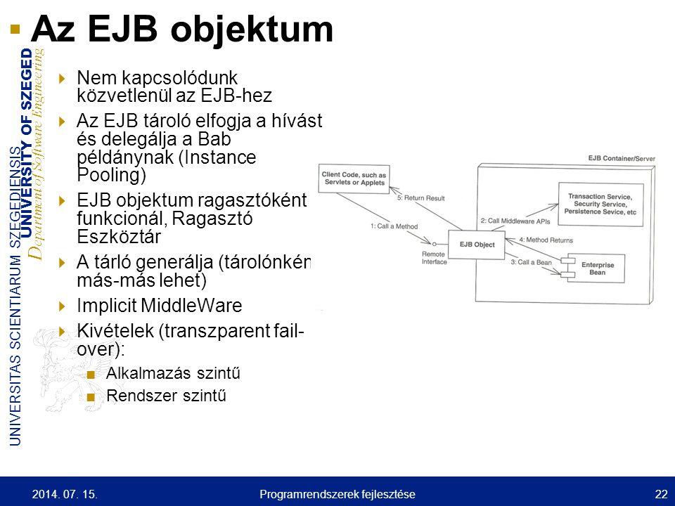 UNIVERSITY OF SZEGED D epartment of Software Engineering UNIVERSITAS SCIENTIARUM SZEGEDIENSIS 22 Az EJB objektum  Nem kapcsolódunk közvetlenül az EJB