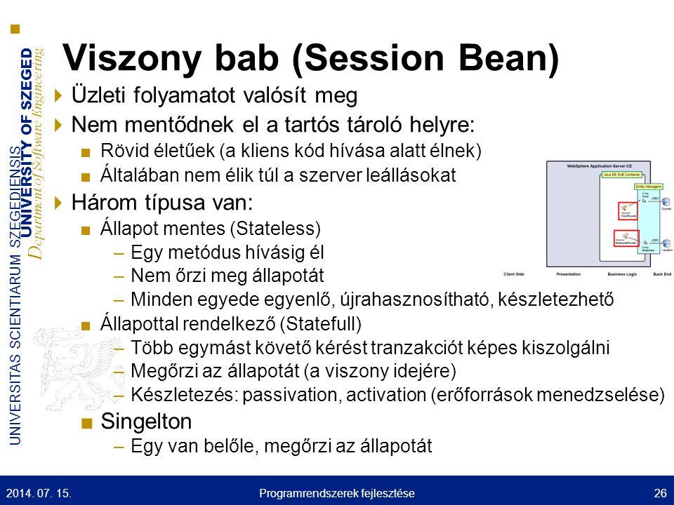 UNIVERSITY OF SZEGED D epartment of Software Engineering UNIVERSITAS SCIENTIARUM SZEGEDIENSIS Viszony bab (Session Bean)  Üzleti folyamatot valósít m