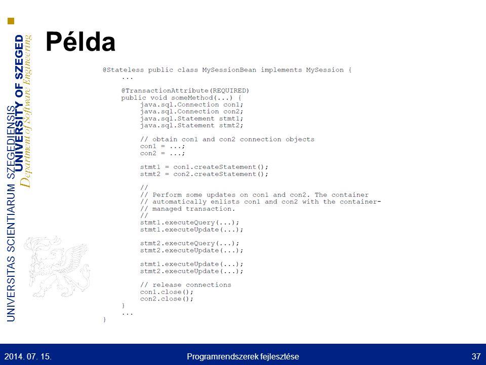 UNIVERSITY OF SZEGED D epartment of Software Engineering UNIVERSITAS SCIENTIARUM SZEGEDIENSIS Példa 2014. 07. 15.37Programrendszerek fejlesztése