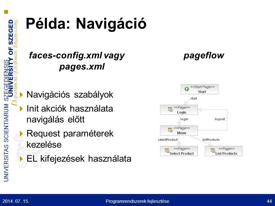 UNIVERSITY OF SZEGED D epartment of Software Engineering UNIVERSITAS SCIENTIARUM SZEGEDIENSIS Példa: Navigáció faces-config.xml vagy pages.xml  Navig
