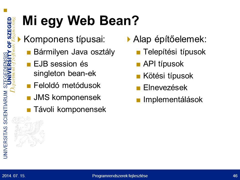 UNIVERSITY OF SZEGED D epartment of Software Engineering UNIVERSITAS SCIENTIARUM SZEGEDIENSIS Mi egy Web Bean?  Komponens típusai: ■Bármilyen Java os