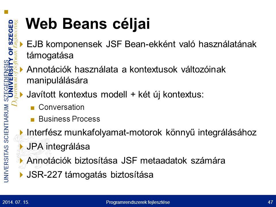UNIVERSITY OF SZEGED D epartment of Software Engineering UNIVERSITAS SCIENTIARUM SZEGEDIENSIS Web Beans céljai  EJB komponensek JSF Bean-ekként való
