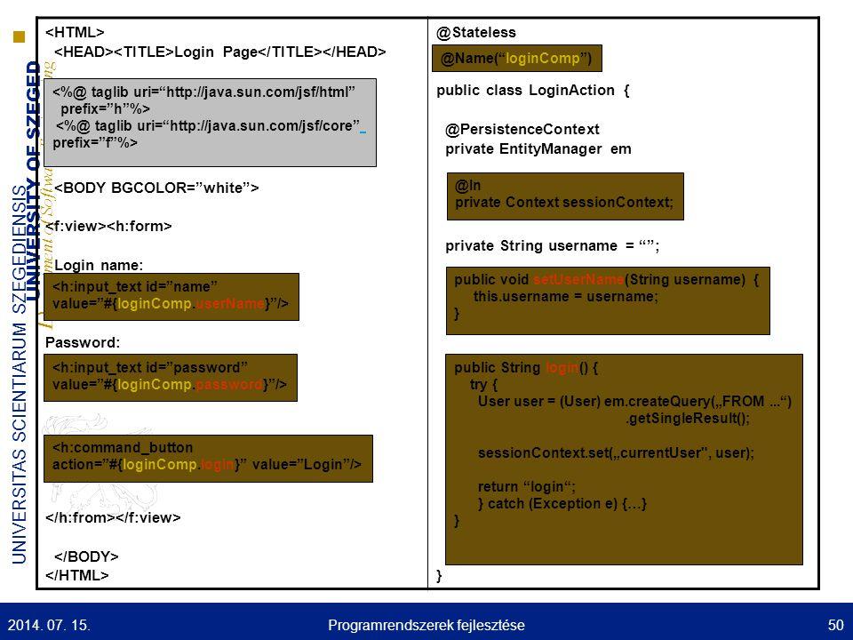 UNIVERSITY OF SZEGED D epartment of Software Engineering UNIVERSITAS SCIENTIARUM SZEGEDIENSIS Login Page Login name: Password: @Stateless public class