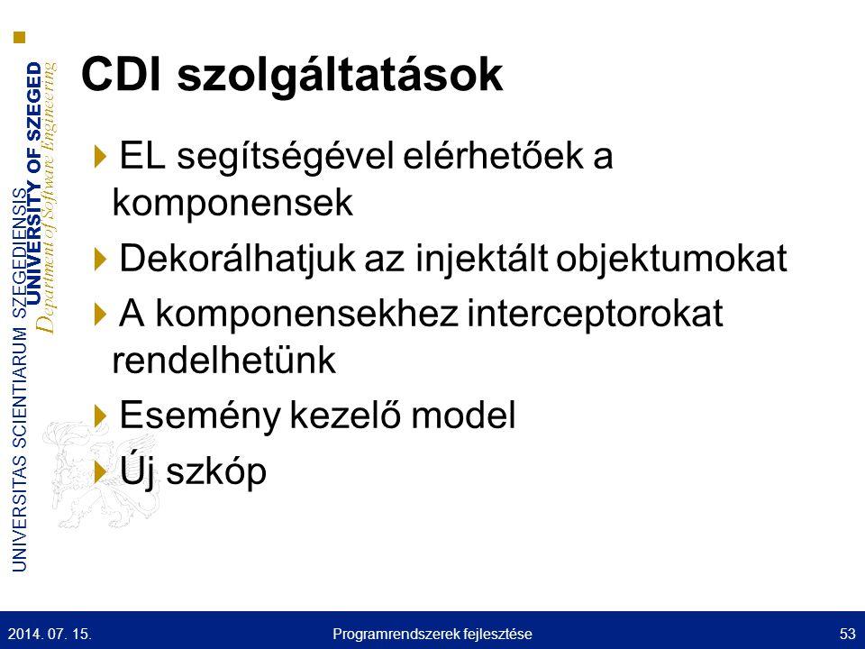 UNIVERSITY OF SZEGED D epartment of Software Engineering UNIVERSITAS SCIENTIARUM SZEGEDIENSIS CDI szolgáltatások  EL segítségével elérhetőek a kompon