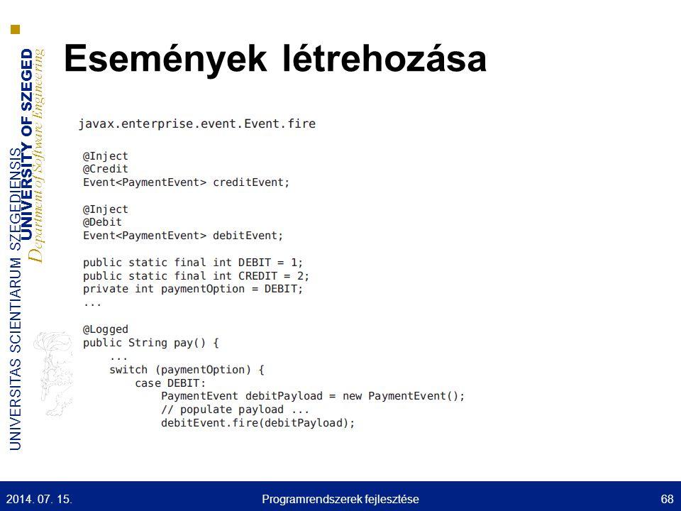UNIVERSITY OF SZEGED D epartment of Software Engineering UNIVERSITAS SCIENTIARUM SZEGEDIENSIS Események létrehozása 2014. 07. 15.68Programrendszerek f