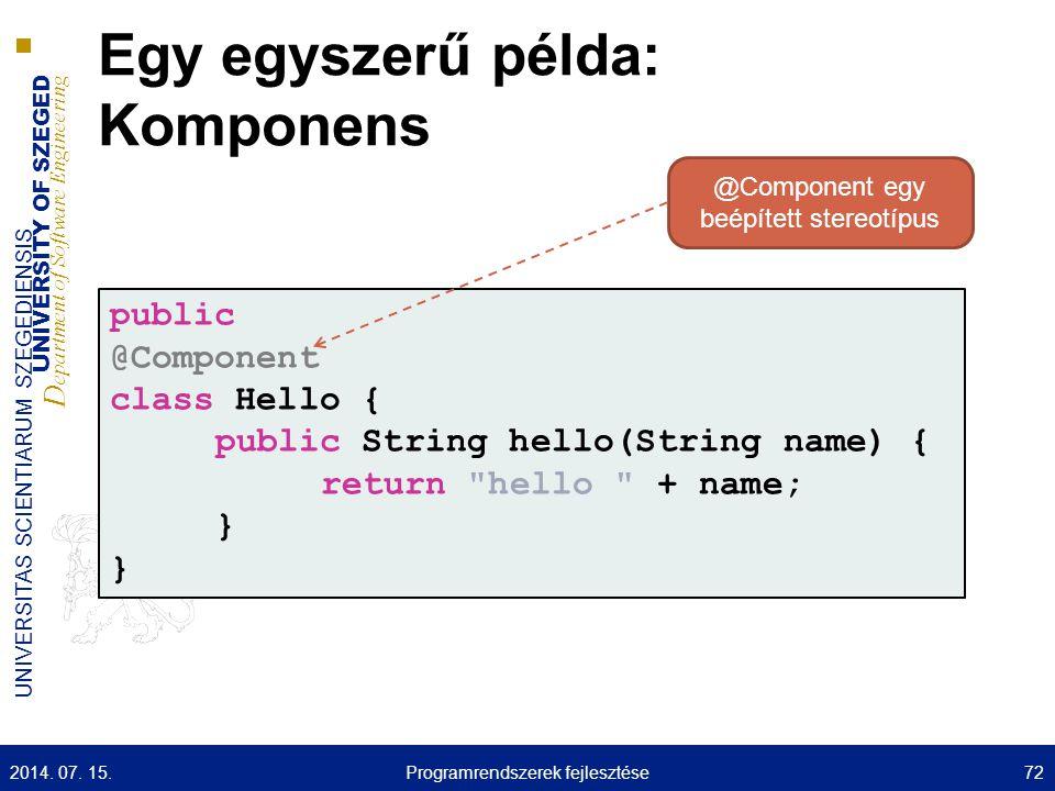 UNIVERSITY OF SZEGED D epartment of Software Engineering UNIVERSITAS SCIENTIARUM SZEGEDIENSIS Egy egyszerű példa: Komponens public @Component class He