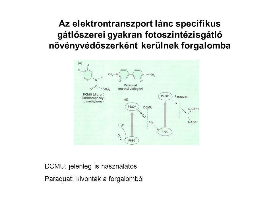 Az elektrontranszport lánc specifikus gátlószerei gyakran fotoszintézisgátló növényvédőszerként kerülnek forgalomba DCMU: jelenleg is használatos Para