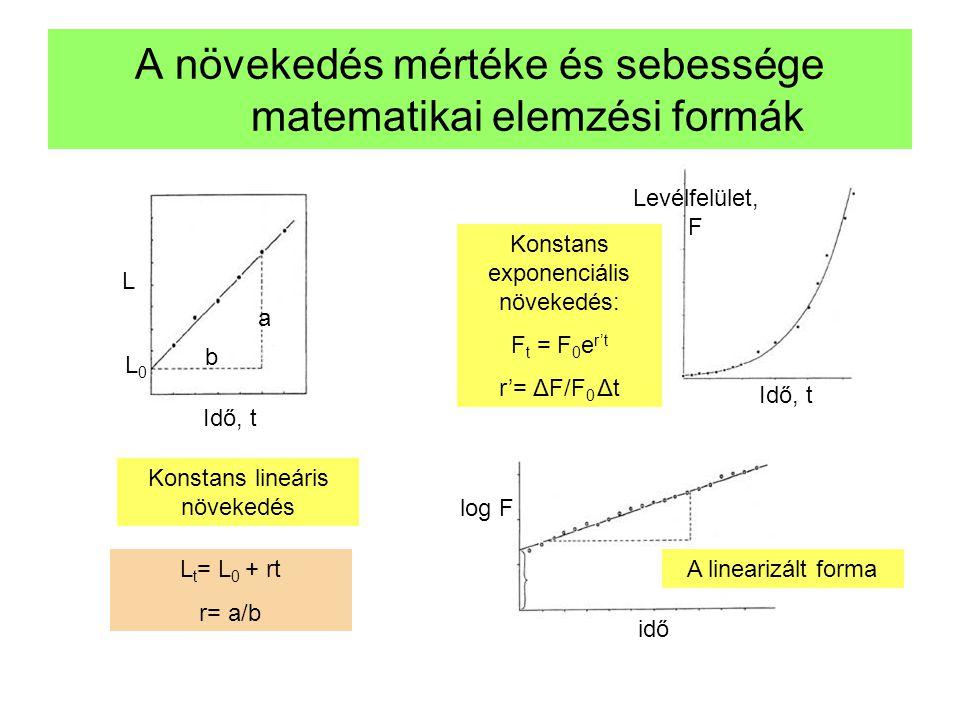 A növekedés mértéke és sebessége matematikai elemzési formák L Idő, t Konstans lineáris növekedés L0L0 L t = L 0 + rt r= a/b a b Konstans exponenciáli