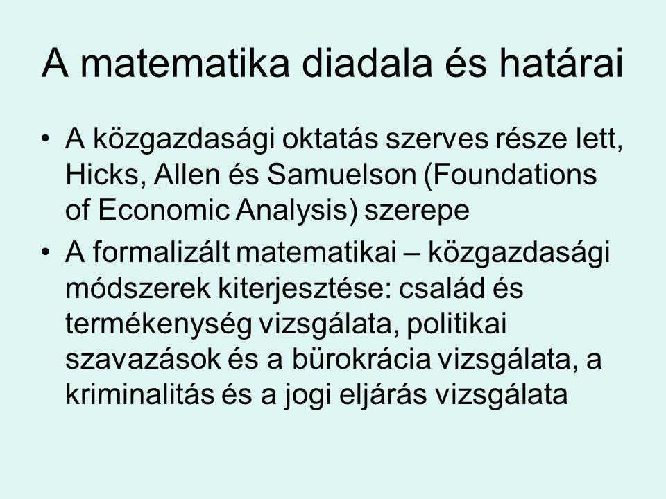 A matematika diadala és határai A közgazdasági oktatás szerves része lett, Hicks, Allen és Samuelson (Foundations of Economic Analysis) szerepe A form