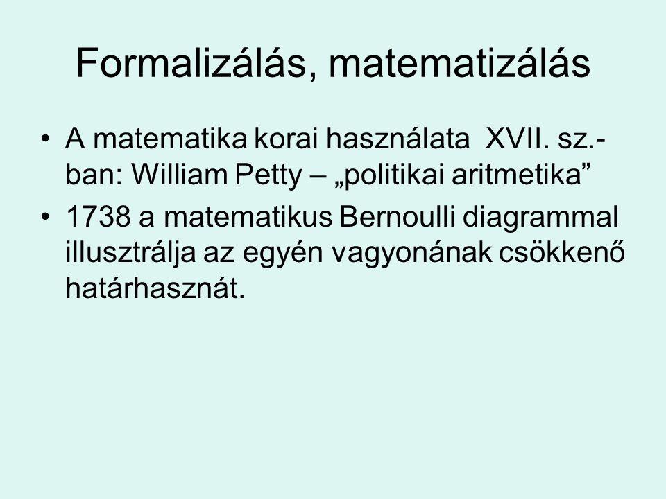 """Formalizálás, matematizálás A matematika korai használata XVII. sz.- ban: William Petty – """"politikai aritmetika"""" 1738 a matematikus Bernoulli diagramm"""