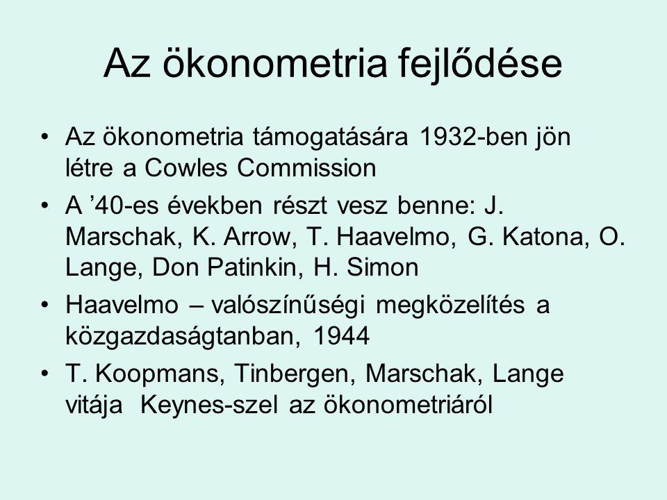 Az ökonometria fejlődése Az ökonometria támogatására 1932-ben jön létre a Cowles Commission A '40-es években részt vesz benne: J. Marschak, K. Arrow,