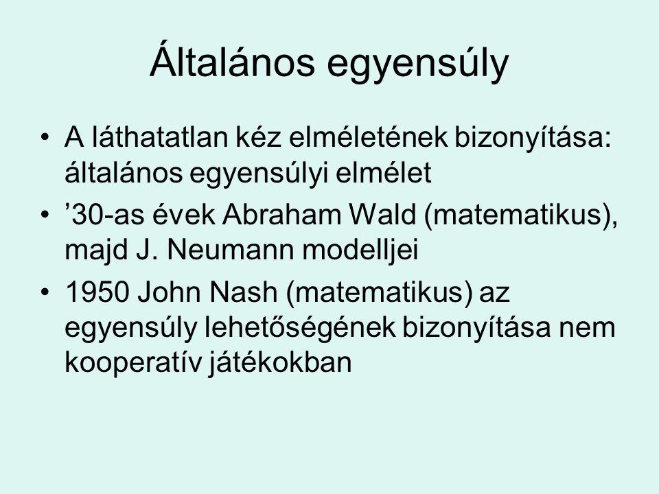 Általános egyensúly A láthatatlan kéz elméletének bizonyítása: általános egyensúlyi elmélet '30-as évek Abraham Wald (matematikus), majd J. Neumann mo