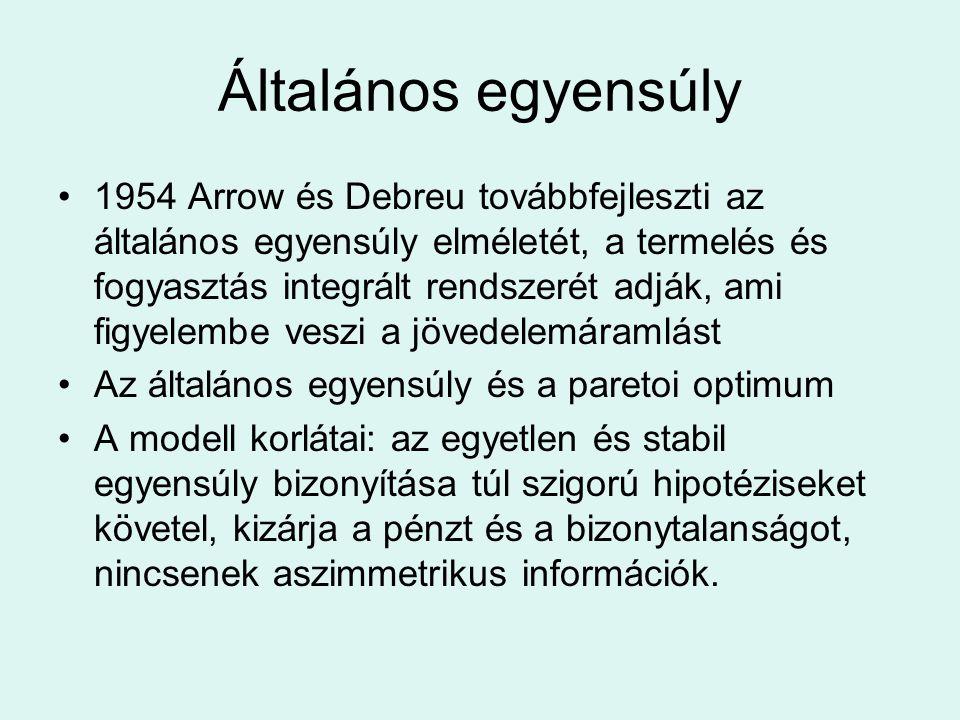 Általános egyensúly 1954 Arrow és Debreu továbbfejleszti az általános egyensúly elméletét, a termelés és fogyasztás integrált rendszerét adják, ami fi