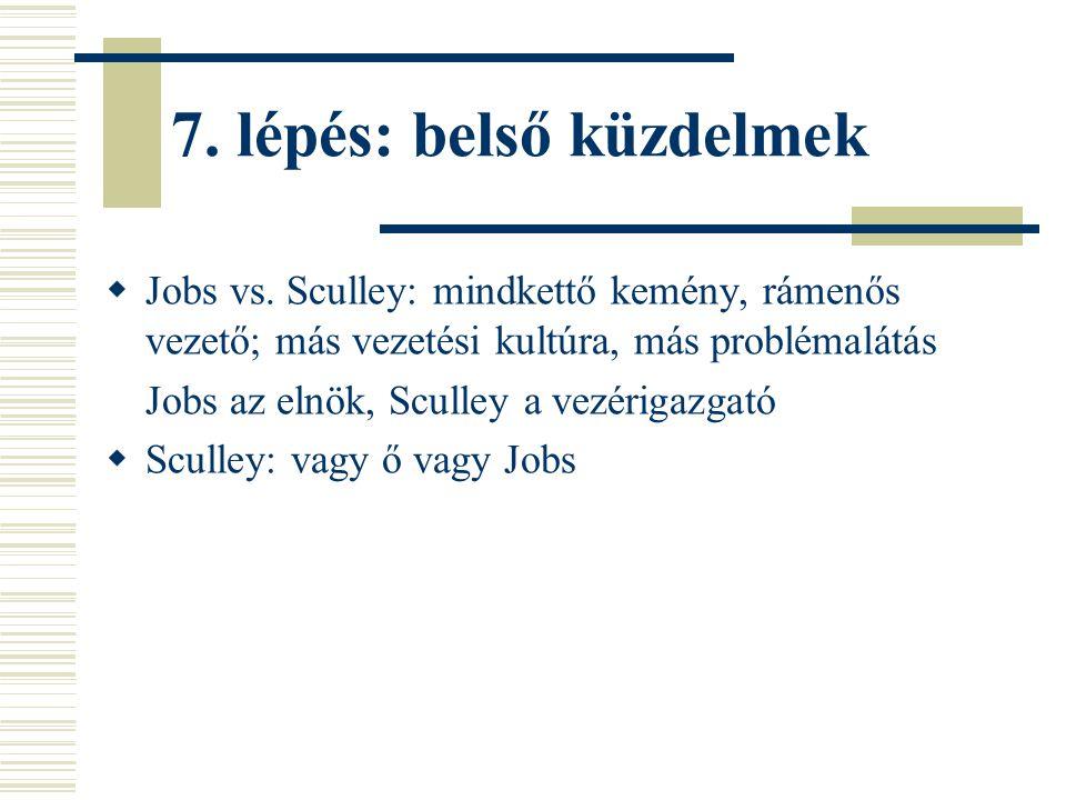 7. lépés: belső küzdelmek  Jobs vs. Sculley: mindkettő kemény, rámenős vezető; más vezetési kultúra, más problémalátás Jobs az elnök, Sculley a vezér