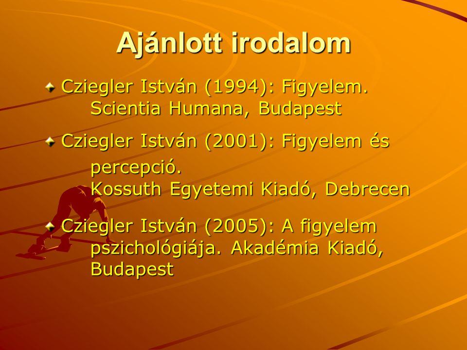 Ajánlott irodalom Cziegler István (1994): Figyelem. Scientia Humana, Budapest Cziegler István (2001): Figyelem és percepció. Kossuth Egyetemi Kiadó, D