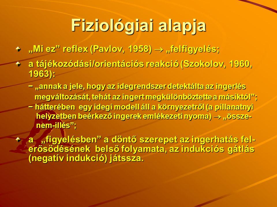 """Fiziológiai alapja """"Mi ez"""" reflex (Pavlov, 1958)  """"felfigyelés; a tájékozódási/orientációs reakció (Szokolov, 1960, 1963): − """"annak a jele, hogy az i"""