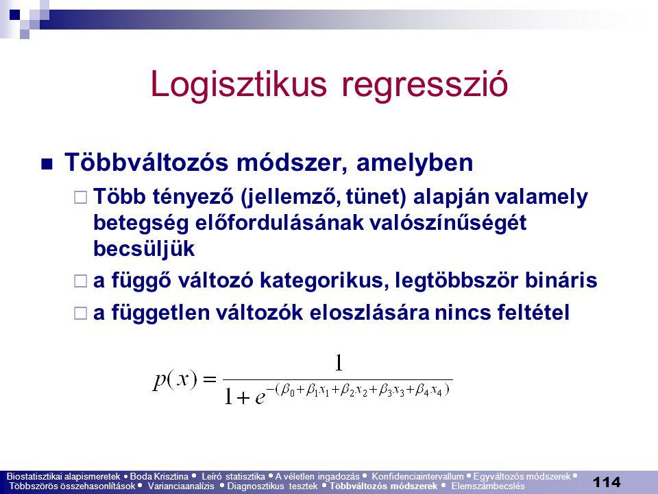 114 Logisztikus regresszió Többváltozós módszer, amelyben  Több tényező (jellemző, tünet) alapján valamely betegség előfordulásának valószínűségét be