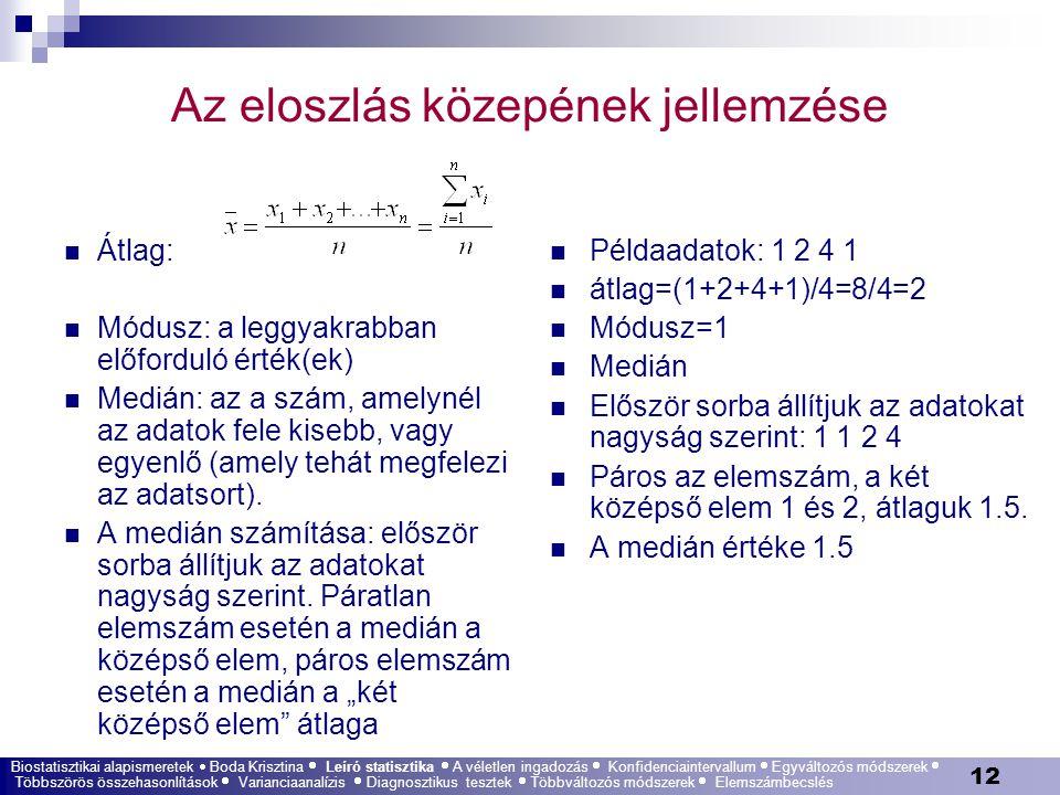 12 Az eloszlás közepének jellemzése Átlag: Módusz: a leggyakrabban előforduló érték(ek) Medián: az a szám, amelynél az adatok fele kisebb, vagy egyenl