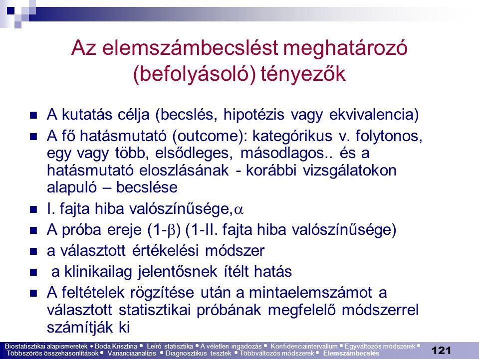 121 Az elemszámbecslést meghatározó (befolyásoló) tényezők A kutatás célja (becslés, hipotézis vagy ekvivalencia) A fő hatásmutató (outcome): kategóri