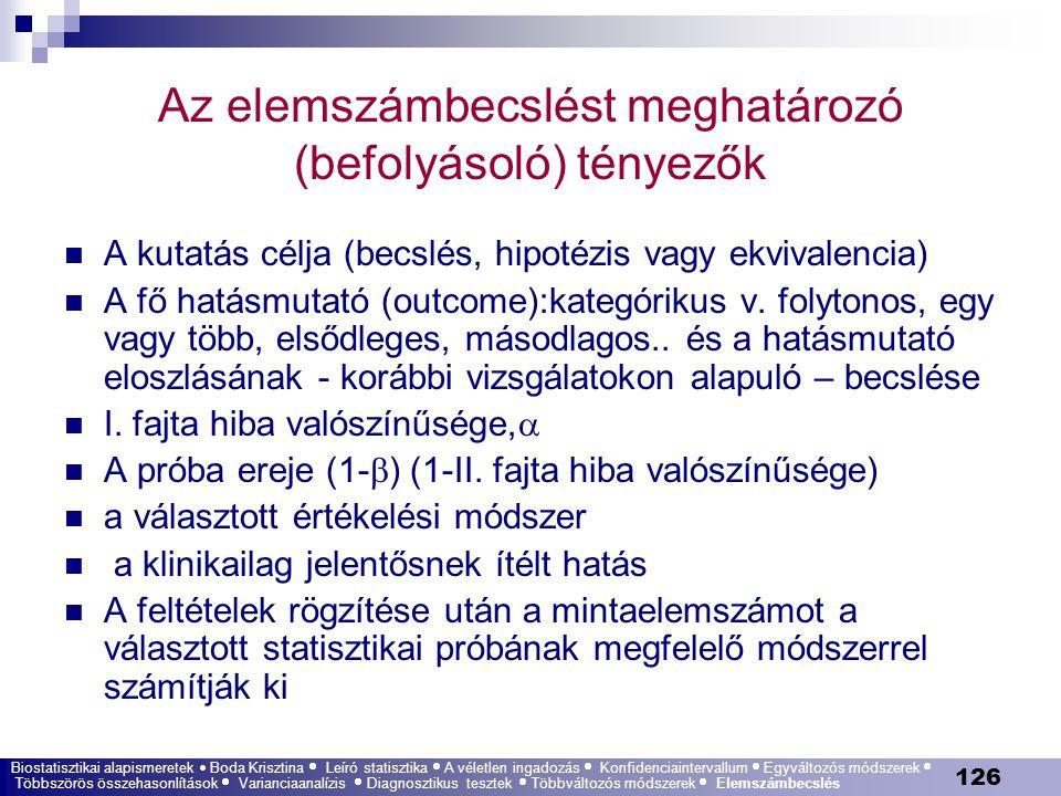 126 Az elemszámbecslést meghatározó (befolyásoló) tényezők A kutatás célja (becslés, hipotézis vagy ekvivalencia) A fő hatásmutató (outcome):kategórik