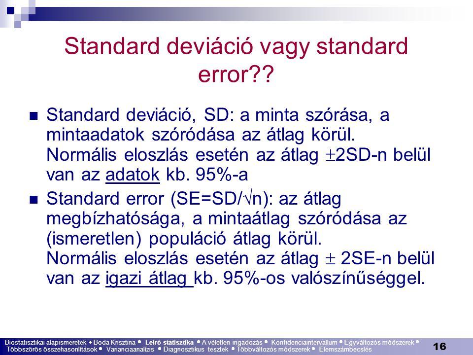 16 Standard deviáció vagy standard error?? Standard deviáció, SD: a minta szórása, a mintaadatok szóródása az átlag körül. Normális eloszlás esetén az