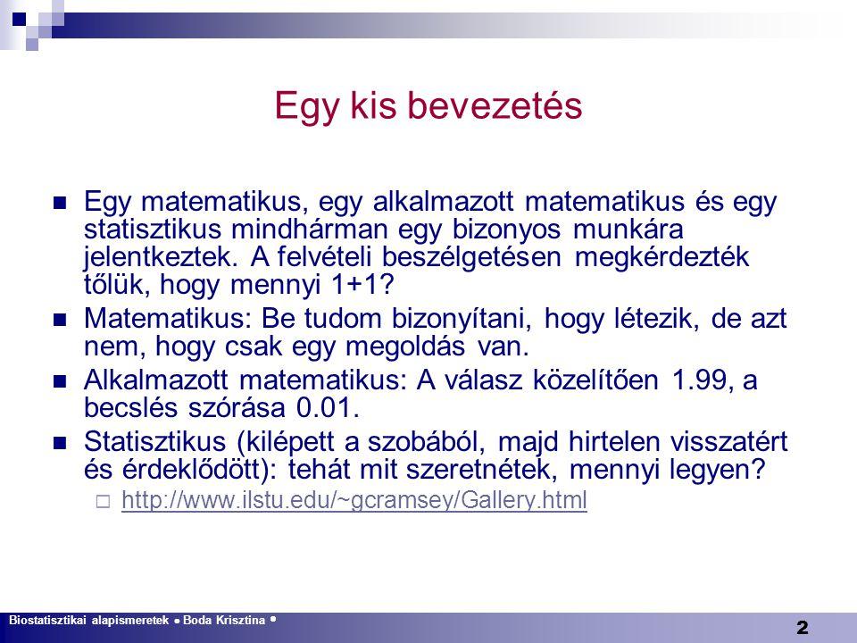 63 Példa Biostatisztikai alapismeretek  Boda Krisztina  Leíró statisztika  A véletlen ingadozás  Konfidenciaintervallum  Egyváltozós módszerek  Többszörös összehasonlítások  Varianciaanalízis  Diagnosztikus tesztek  Többváltozós módszerek  Elemszámbecslés