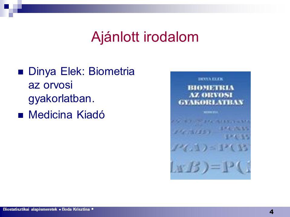 4 Ajánlott irodalom Dinya Elek: Biometria az orvosi gyakorlatban. Medicina Kiadó Biostatisztikai alapismeretek  Boda Krisztina 
