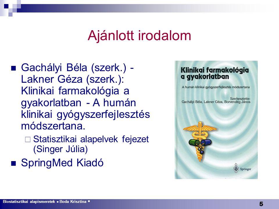 26 Biostatisztikai alapismeretek  Boda Krisztina  Leíró statisztika  A véletlen ingadozás  Konfidenciaintervallum  Egyváltozós módszerek  Többszörös összehasonlítások  Varianciaanalízis  Diagnosztikus tesztek  Többváltozós módszerek  Elemszámbecslés