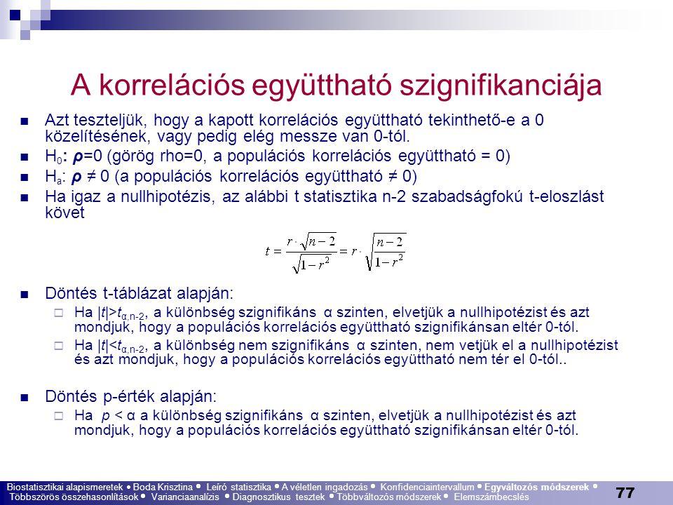 77 A korrelációs együttható szignifikanciája Azt teszteljük, hogy a kapott korrelációs együttható tekinthető-e a 0 közelítésének, vagy pedig elég mess