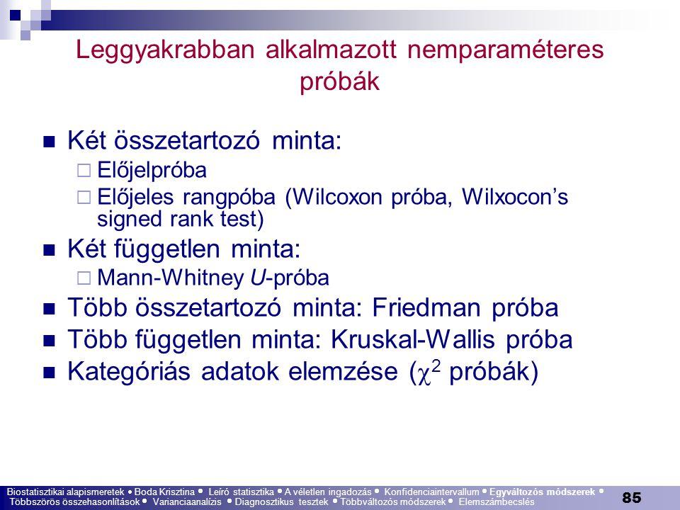 85 Leggyakrabban alkalmazott nemparaméteres próbák Két összetartozó minta:  Előjelpróba  Előjeles rangpóba (Wilcoxon próba, Wilxocon's signed rank t
