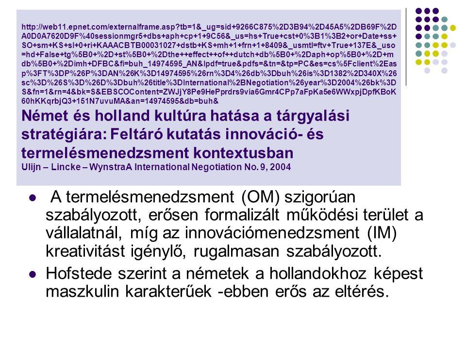 http://web11.epnet.com/externalframe.asp tb=1&_ug=sid+9266C875%2D3B94%2D45A5%2DB69F%2D A0D0A7620D9F%40sessionmgr5+dbs+aph+cp+1+9C56&_us=hs+True+cst+0%3B1%3B2+or+Date+ss+ SO+sm+KS+sl+0+ri+KAAACBTB00031027+dstb+KS+mh+1+frn+1+8409&_usmtl=ftv+True+137E&_uso =hd+False+tg%5B0+%2D+st%5B0+%2Dthe++effect++of++dutch+db%5B0+%2Daph+op%5B0+%2D+m db%5B0+%2Dimh+DFBC&fi=buh_14974595_AN&lpdf=true&pdfs=&tn=&tp=PC&es=cs%5Fclient%2Eas p%3FT%3DP%26P%3DAN%26K%3D14974595%26rn%3D4%26db%3Dbuh%26is%3D1382%2D340X%26 sc%3D%26S%3D%26D%3Dbuh%26title%3DInternational%2BNegotiation%26year%3D2004%26bk%3D S&fn=1&rn=4&bk=S&EBSCOContent=ZWJjY8Pe9HePprdrs9via6Gmr4CPp7aFpKa5e6WWxpjDpfKBoK 60hKKqrbjQ3+151N7uvuMA&an=14974595&db=buh& Német és holland kultúra hatása a tárgyalási stratégiára: Feltáró kutatás innováció- és termelésmenedzsment kontextusban Ulijn – Lincke – WynstraA International Negotiation No.