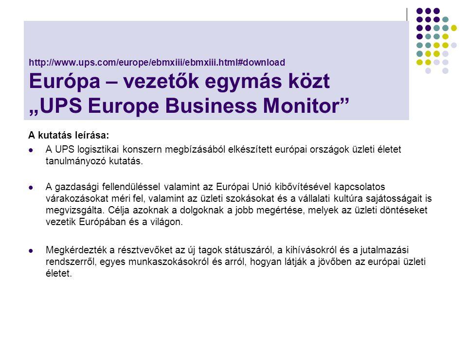 """Néhány adat a kutatásból 1453 üzleti vezetőt kérdeztek Európa """"csúcs vállalatai képviseletében Az adatok 2003 szeptember-november között lettek felvéve Bizonyos jelenségek elterjedtségét, a lehetséges változásokra vonatkozó jóslatokat is vizsgáltak."""