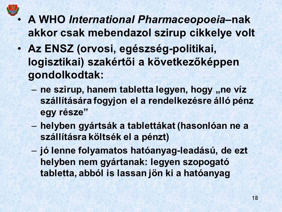 """18 A WHO International Pharmaceopoeia–nak akkor csak mebendazol szirup cikkelye volt Az ENSZ (orvosi, egészség-politikai, logisztikai) szakértői a következőképpen gondolkodtak: –ne szirup, hanem tabletta legyen, hogy """"ne víz szállítására fogyjon el a rendelkezésre álló pénz egy része –helyben gyártsák a tablettákat (hasonlóan ne a szállításra költsék el a pénzt) –jó lenne folyamatos hatóanyag-leadású, de ezt helyben nem gyártanak: legyen szopogató tabletta, abból is lassan jön ki a hatóanyag 18"""