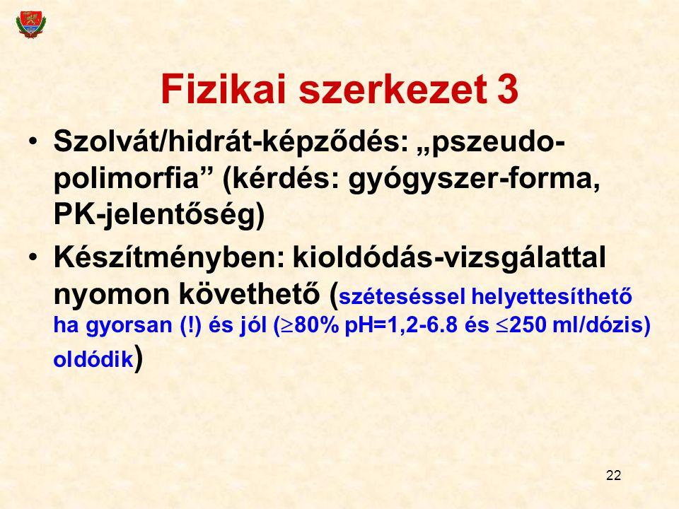 """22 Fizikai szerkezet 3 Szolvát/hidrát-képződés: """"pszeudo- polimorfia (kérdés: gyógyszer-forma, PK-jelentőség) Készítményben: kioldódás-vizsgálattal nyomon követhető ( széteséssel helyettesíthető ha gyorsan (!) és jól (  80% pH=1,2-6.8 és  250 ml/dózis) oldódik )"""