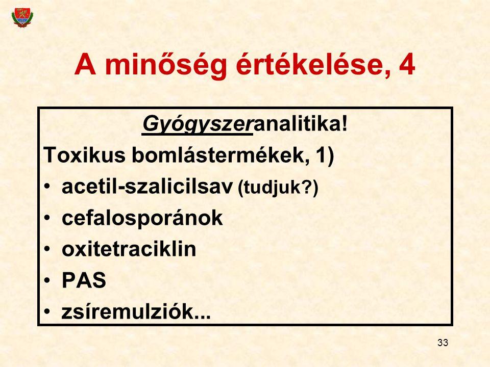 33 A minőség értékelése, 4 Gyógyszeranalitika! Toxikus bomlástermékek, 1) acetil-szalicilsav (tudjuk?) cefalosporánok oxitetraciklin PAS zsíremulziók.