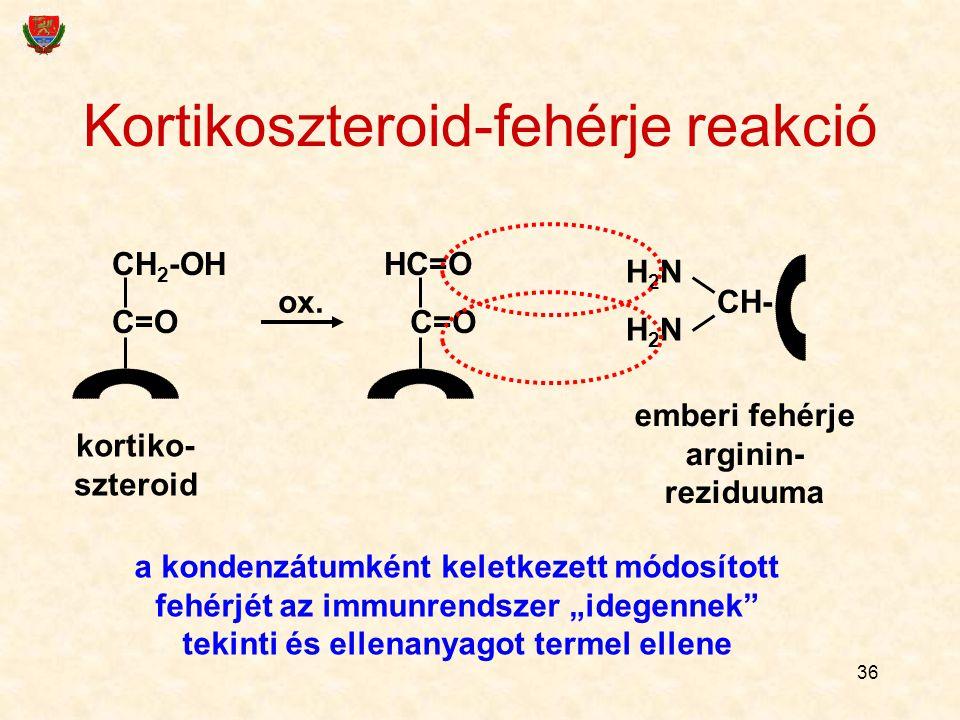 36 Kortikoszteroid-fehérje reakció CH 2 -OH C=O HC=O C=O H2NH2NH2NH2N CH- kortiko- szteroid ox. emberi fehérje arginin- reziduuma a kondenzátumként ke