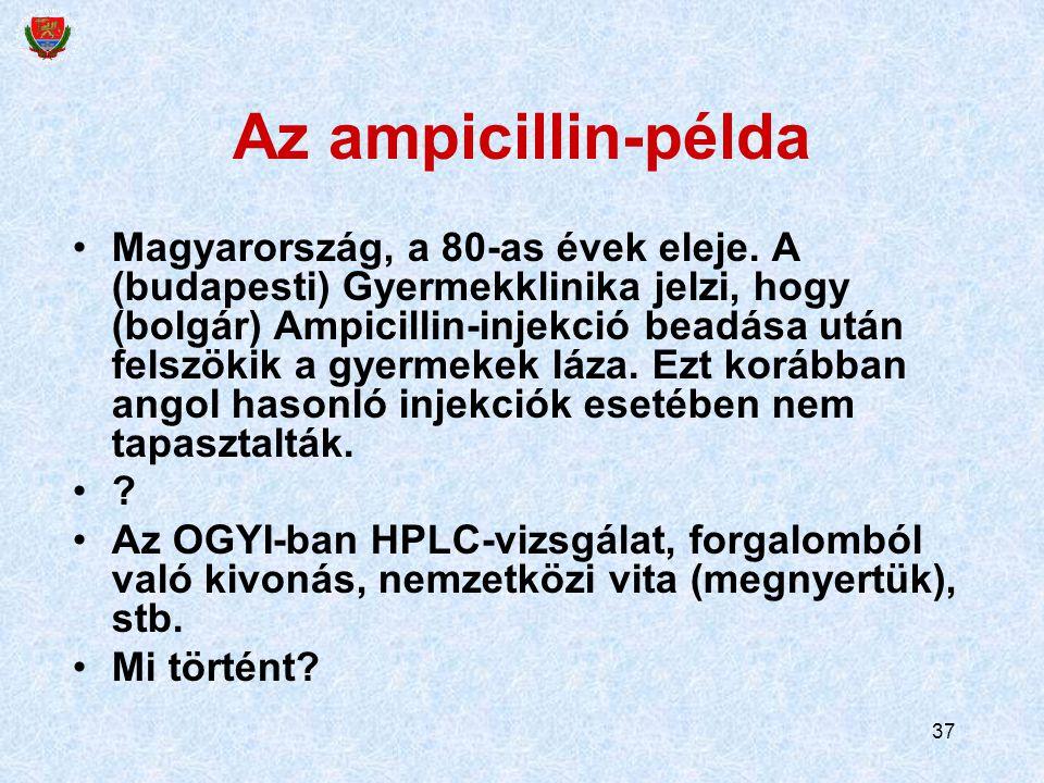 37 Az ampicillin-példa Magyarország, a 80-as évek eleje. A (budapesti) Gyermekklinika jelzi, hogy (bolgár) Ampicillin-injekció beadása után felszökik