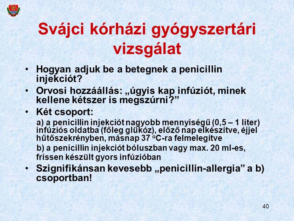 40 Svájci kórházi gyógyszertári vizsgálat Hogyan adjuk be a betegnek a penicillin injekciót.