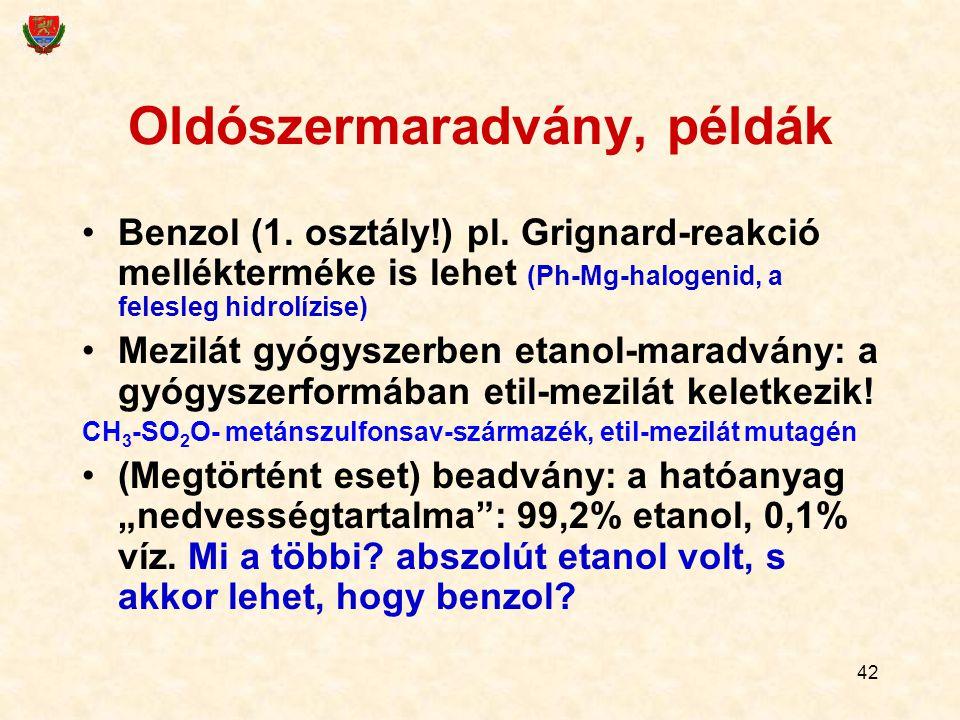 42 Oldószermaradvány, példák Benzol (1. osztály!) pl. Grignard-reakció mellékterméke is lehet (Ph-Mg-halogenid, a felesleg hidrolízise) Mezilát gyógys