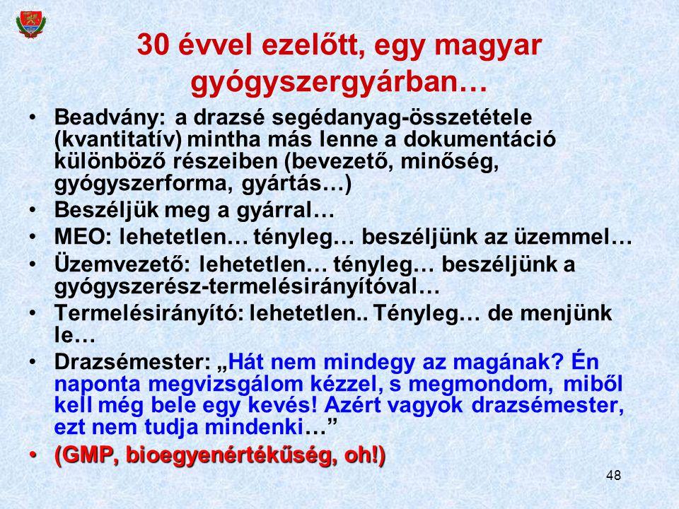 48 30 évvel ezelőtt, egy magyar gyógyszergyárban… Beadvány: a drazsé segédanyag-összetétele (kvantitatív) mintha más lenne a dokumentáció különböző ré