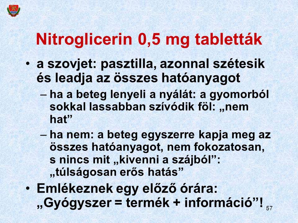 57 Nitroglicerin 0,5 mg tabletták a szovjet: pasztilla, azonnal szétesik és leadja az összes hatóanyagot –ha a beteg lenyeli a nyálát: a gyomorból sok