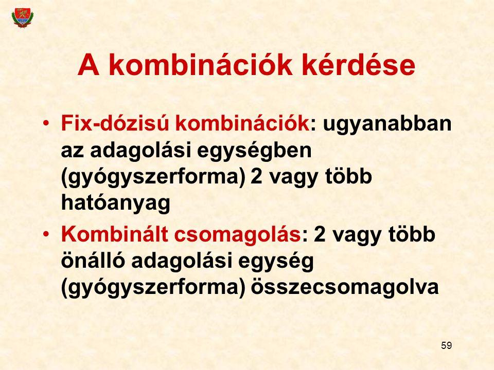 59 A kombinációk kérdése Fix-dózisú kombinációk: ugyanabban az adagolási egységben (gyógyszerforma) 2 vagy több hatóanyag Kombinált csomagolás: 2 vagy több önálló adagolási egység (gyógyszerforma) összecsomagolva
