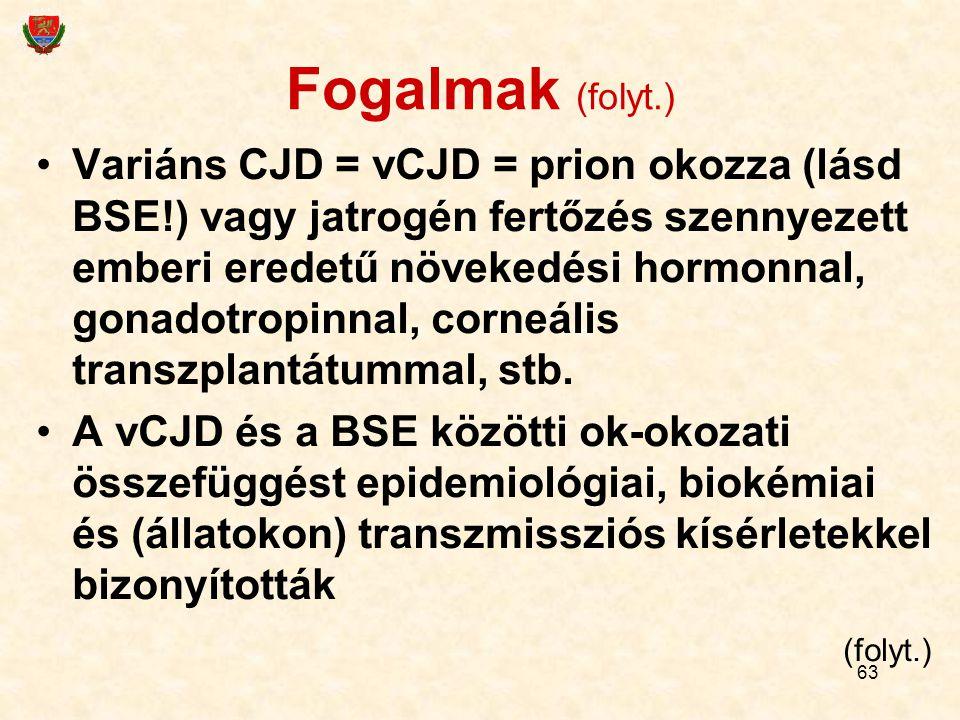 63 Fogalmak (folyt.) Variáns CJD = vCJD = prion okozza (lásd BSE!) vagy jatrogén fertőzés szennyezett emberi eredetű növekedési hormonnal, gonadotropinnal, corneális transzplantátummal, stb.