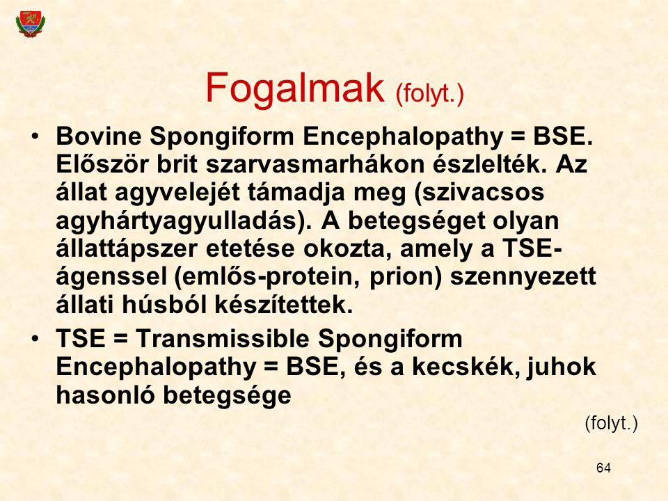 64 Fogalmak (folyt.) Bovine Spongiform Encephalopathy = BSE. Először brit szarvasmarhákon észlelték. Az állat agyvelejét támadja meg (szivacsos agyhár