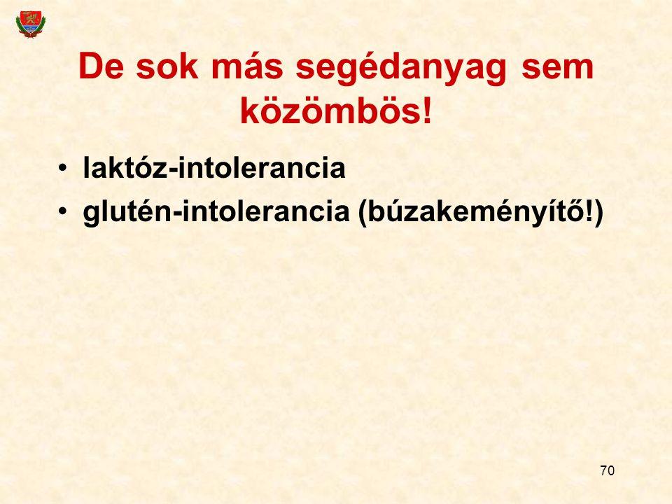 70 De sok más segédanyag sem közömbös! laktóz-intolerancia glutén-intolerancia (búzakeményítő!)