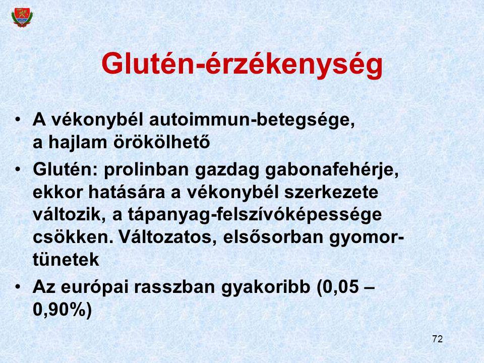 72 Glutén-érzékenység A vékonybél autoimmun-betegsége, a hajlam örökölhető Glutén: prolinban gazdag gabonafehérje, ekkor hatására a vékonybél szerkezete változik, a tápanyag-felszívóképessége csökken.