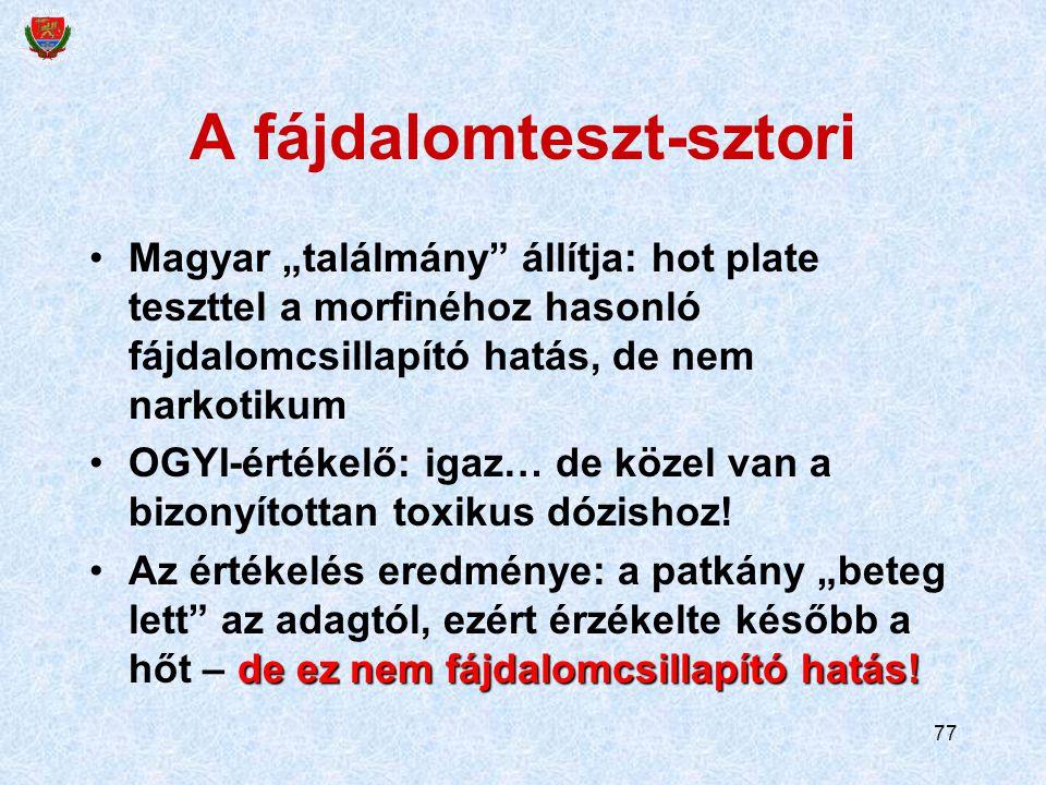"""77 A fájdalomteszt-sztori Magyar """"találmány"""" állítja: hot plate teszttel a morfinéhoz hasonló fájdalomcsillapító hatás, de nem narkotikum OGYI-értékel"""