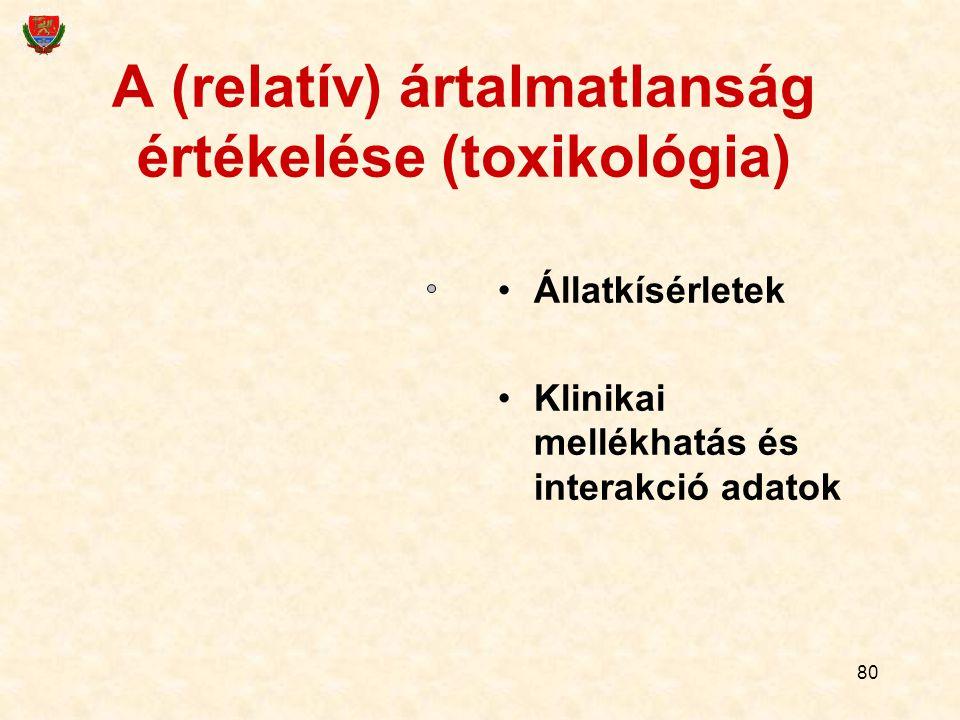 80 A (relatív) ártalmatlanság értékelése (toxikológia) Állatkísérletek Klinikai mellékhatás és interakció adatok