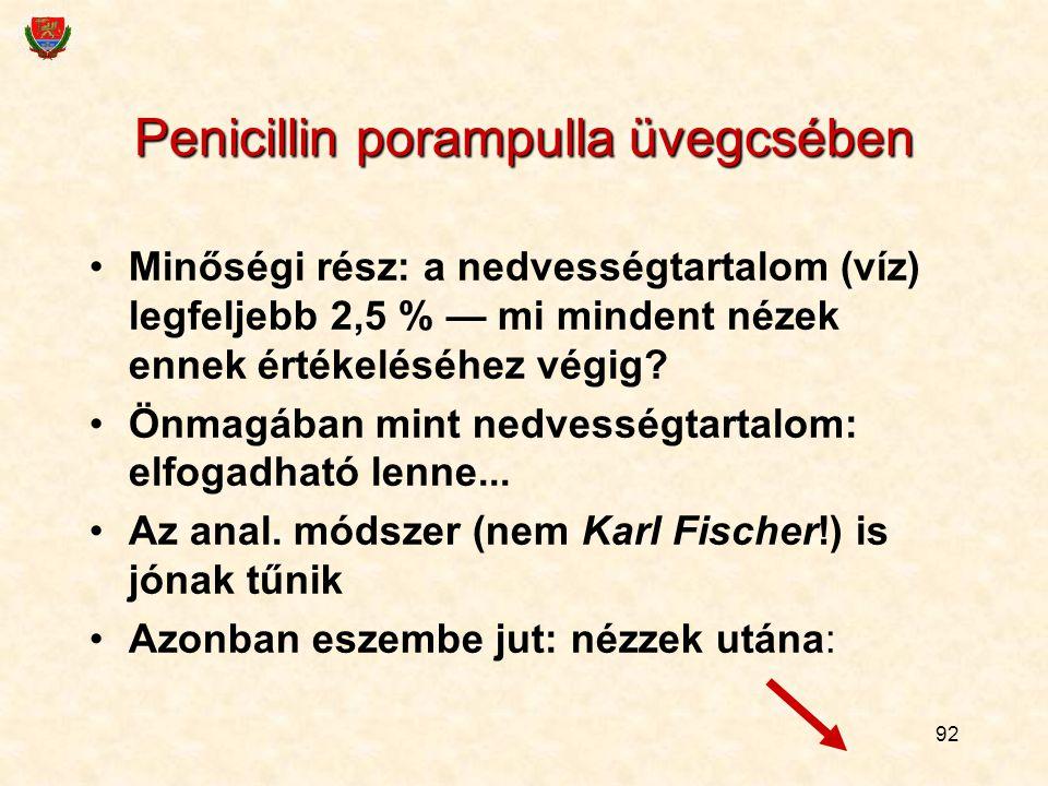 92 Penicillin porampulla üvegcsében Minőségi rész: a nedvességtartalom (víz) legfeljebb 2,5 % — mi mindent nézek ennek értékeléséhez végig? Önmagában