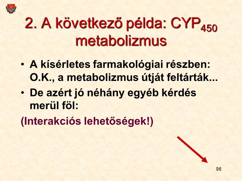 96 2. A következő példa: CYP 450 metabolizmus A kísérletes farmakológiai részben: O.K., a metabolizmus útját feltárták... De azért jó néhány egyéb kér
